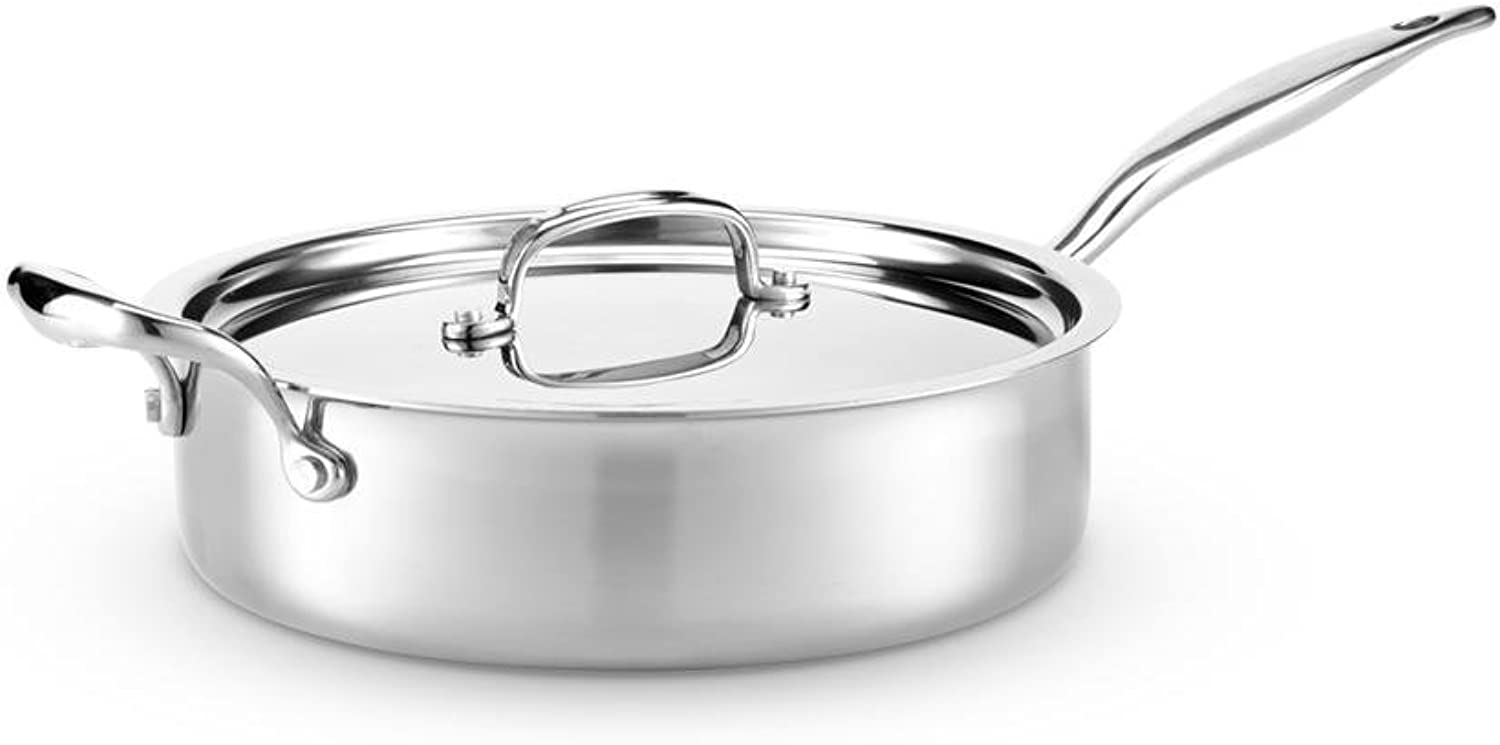 Hammer Stahl HSC-14011 Sauté Pan with Lid 7-Ply Cookware with 316Ti Made in USA, 4 quart, Stainless Steel
