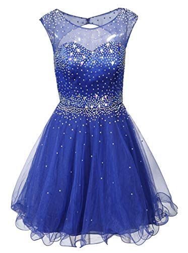 Mamilove Women's Short Beading Homecoming Dress for Juniors A Line Prom Ball Gown Size 4 Royal Blue