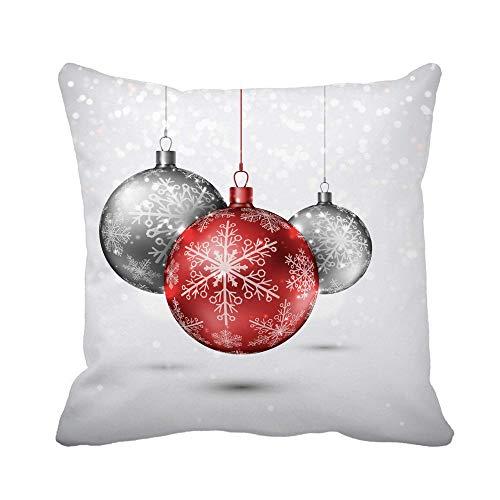 N\A Throw Pillow Cover Red Xmas Christmas Balls Esfera Plateada Holiday Winter Merry Shiny Funda de Almohada Funda de Almohada Cuadrada Decorativa para el hogar Funda de cojín