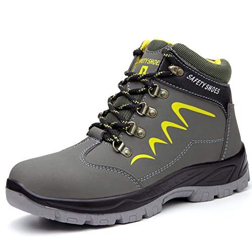 PAQOZKC Botas de Seguridad Invierno Mujer Hombre Zapatillas con Puntera de Acero Zapatos de Trabajo S3 Botas de Nieve Impermeables Zapatillas de Senderismo (678/green/45)