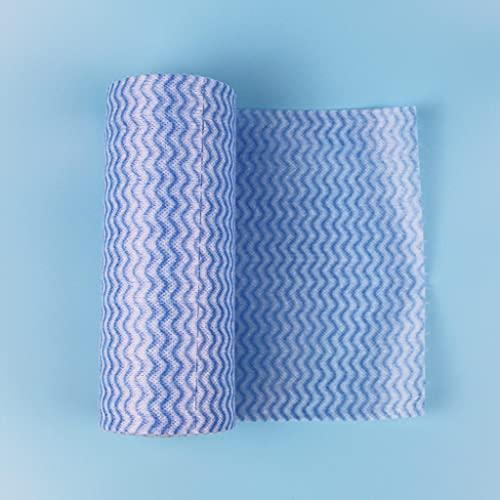 CHYSP 50 Piezas/Rollos Rollos de Cocina Reutilizables Desechables de Cocina Rollos de Tela de Limpieza Rollos de Limpieza Pastillas de Limpieza Pastillas de Cocina Toallas (Color : Blue)