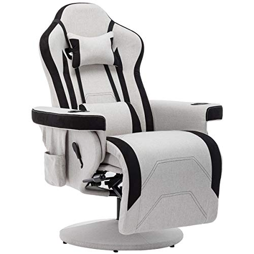 Merax Gaming Recliner Gaming Desk Chair with Footrest,Headrest,Lumbar Pillow,2 Cup Holders, 2 Removable Side Pouches (Gray)