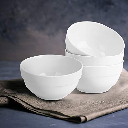 Porcelain Dinner Bowls Soup Snack Bowl Dinnerware all-white Size 5-Inch 4 Packs Powerjc