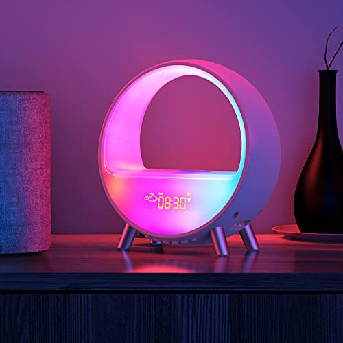 Dekala Arches Alarm Clock White Noise Machine Sunrise Alarm Clock Wake Up Light Light Therapy Lamp Sound Machine Baby for Sleeping Aid Night Light Bluetooth Speaker Desk Lamp Work with Alexa