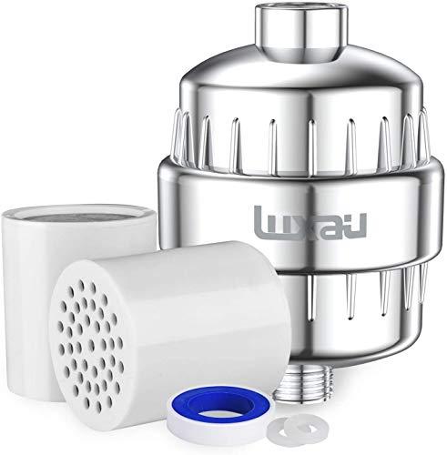 Luxau Shower Filter, Shower Head Filter 15 Stage, w/ 2 Cartridge, Reduce Well Hard Water Chlorine Heavy Metal & Impurity, Improve Skin Hair, Fit Universal Handheld Showerhead Fixed Rainfall, Chrome