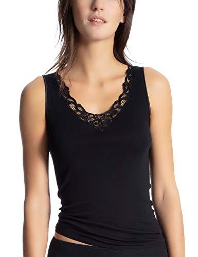 CALIDA Damen Cotton Finerib Unterhemd, Schwarz (Schwarz 992), 44 (Herstellergröße: M)