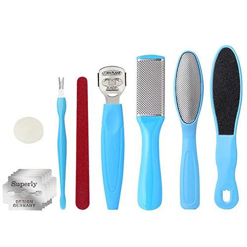 Kit de manucure pour soins des pieds, 8 outils de pédicure, lime exfoliante pour les pieds, empêche le nettoyage de la peau morte, kit d'outils pour femme, homme, salon ou maison