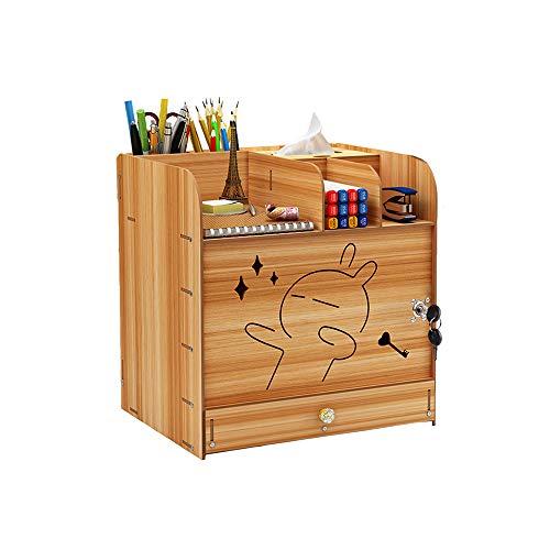 Schreibtisch-Organizer aus Holz mit Schloss, Datei-Sortierer, A4, Dokumente, DIY, Schreibtisch, ordentlich, Aufbewahrungsschrank für Zuhause, Büro und Schule (Kirschholz)