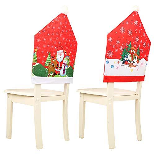 2 Pcs Fundas para Sillas de Navidad Conjuntos de Gorro de Navidad Decoración Fundas protectoras para Sillas Temáticas de Navidad Perfecto para Fiestas y Celebraciones Navideñas