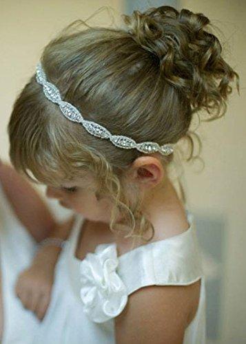 Handmadejewelrylady handgefertigtes Stirnband Blumenmädchen Hochzeit Krone Stirnband Baby Mädchen Kristall Tiara Kopfbedeckung