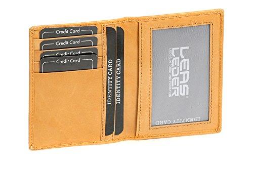 Caja de Piel para DNI Tarjetero para DNI Tarjetero para Tarjetas de crédito LEAS, Piel auténtica, Beige - ''LEAS Card-Collection''