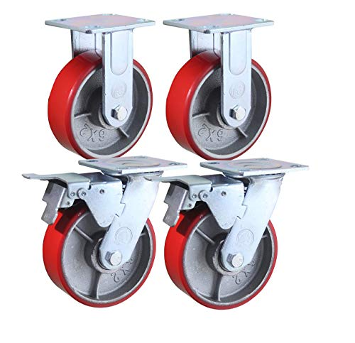 6' x 2' Heavy Duty Metal CASTERS with Poly Tread - Foghorn Construction (Single Fixed) (Renewed)