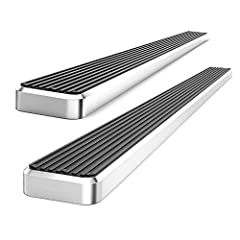 """Polished aluminum running boards: Compatible with Dodge RAM 2009-2018 Lightweight yet durable T-6 aircraft grade aluminum body + textuized step pad with non-slip tread along entire running board 4"""" wide corrosion resistant, heavy duty running boards ..."""