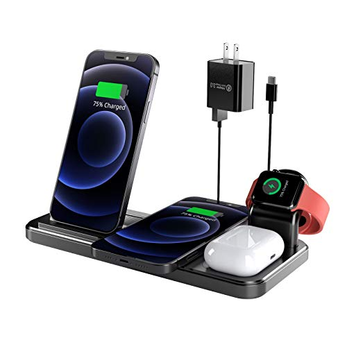 Wireless Charger, Coobetter 4 in 1 Wireless Charging Station with Adapter, Wireless Charging Stand...