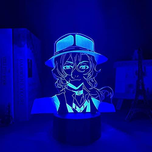 Luz de noche de anime 3D, Bungo Stray Dogs Led Nakahara Chuuya para decoración de dormitorio Regalo Lámpara de luz de noche colorida Juguetes para niños Regalo de niño - Control remoto