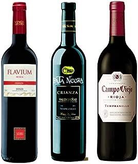 Pack de Vinos para regalar compuesto por: Pata Negra crianza Valdepeñas, Flavium Selección Mencía Bierzo, Campo Viejo Rioja tempranillo - 3 botellas de 75cl en caja y envío en 24/48h