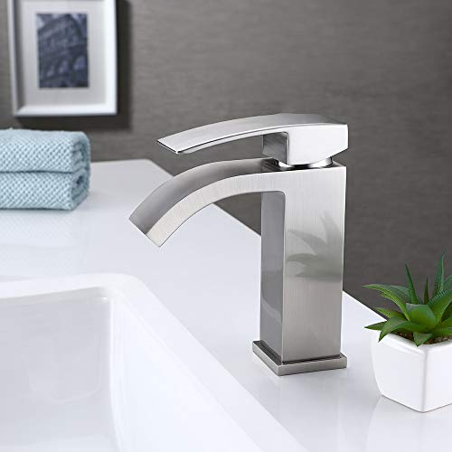 KES Bathroom Faucet Single Handle One Hole Vanity Sink Faucet cUPC NSF Certified Brass Construction, Brushed Nickel L3109ALF-BN