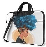 AOOEDM Blaue Haarfarbe Laptoptasche 14 Zoll Schultergurt Umhängetasche Computer Handtasche Aktentasche für Arbeit Studium Schule