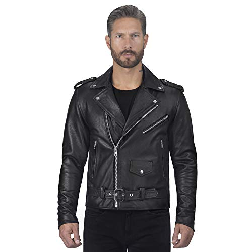 Viking Cycle Angel Fire Nomad USA Classic Cowhide Leather Motorcycle Biker Jacket for Men (Black, Small)