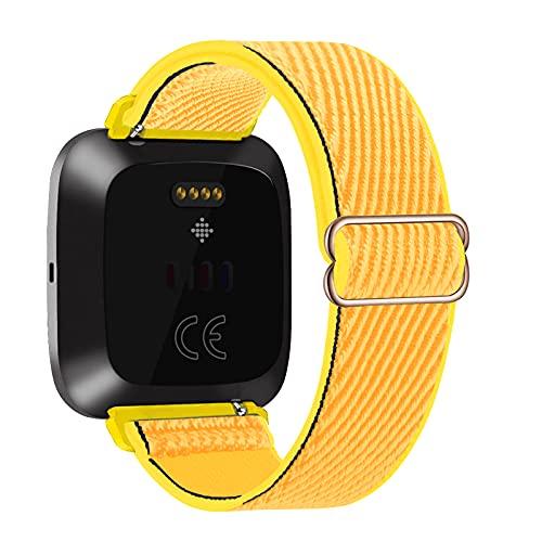 Lobnhot Solo Loop Compatible con Fitbit Versa 2 / Versa/Versa Lite/Versa SE, Correa de Nylon elástica Ajustable (Sunflower)