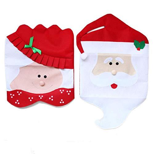 VHJ Christmas Supplies Gorra para Silla de Comedor decoración navideña Mr and Mrs Santa Claus Cover Festival decoración del hogar, 1 Juego 2pcs