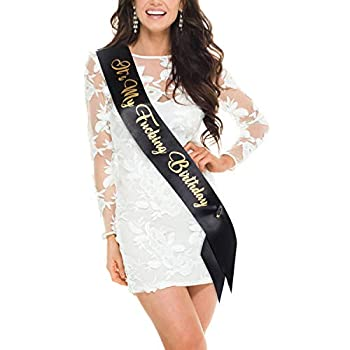 H-BDAY Birthday Sash It s My Fing Birthday Sash for Women or Men with Funny Saying in Black and Gold Glitter Letters Adult Birthday Party Accessories for 18th 21st 22nd 30th 40th Birthday sash