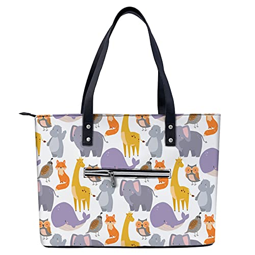 Zoo - Bolso de mano con patrones de animales para ir de compras, gimnasio, senderismo, viajes, yoga, bolsa de hombro con bolsillos exteriores con cremallera
