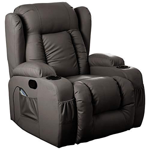 D PRO T 10 IN 1 WINGED LEATHER RECLINER CHAIR ROCKING MASSAGE SWIVEL HEATED GAMING ARMCHAIR (Brown)