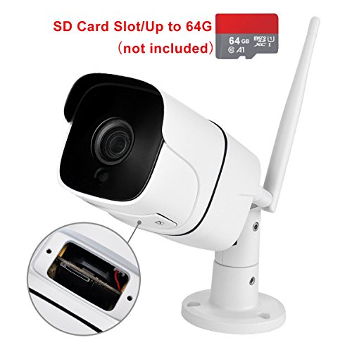 WiFi Camera Outdoor Wireless IP Security Camera with Night Vision up to 65ft Motion Detection Alarm/Recording, Support Max 64GB SD Card (External) AT-100BW