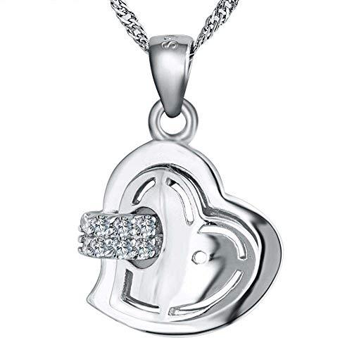 LXIANGP Schmuck Anhänger Silber Herz Anhänger Halskette in Sterling Silber 18,5 mm * 12,5 mm