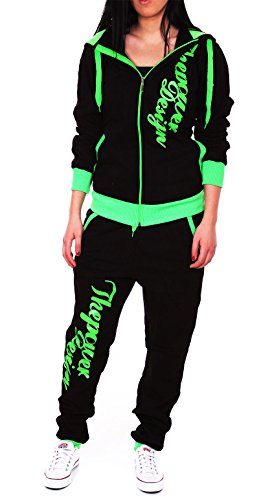 Violento Kinder Mädchen Jogginganzug Jogging Hose Jacke Sportanzug Sporthose Fitness Hoodie schwarz/grün XXS 152