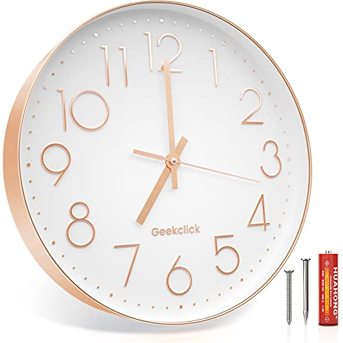 """Geekclick 12"""" Wall Clock [Battery Included], Silent & Large Wall Clocks for Living Room/Office/Home/Kitchen Decor, Modern Style & Easy to Read - Rose Gold & White"""