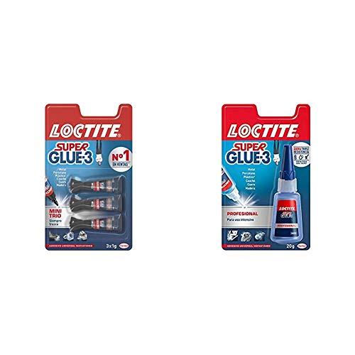 Loctite Super Glue-3 Mini Trio, Pegamento Transparente Universal, 3 x 1 g...