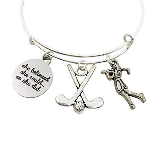 Inspirational Golf Charm Bangle Bracelet Jewelry Gift for Women Golfer