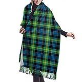Abrigo Estola Mantón Abrigo Bufanda Bufanda Bufanda, Invierno Azul brillante y verde Clan Watson Estampado escocés a cuadros Manta clásica con borlas
