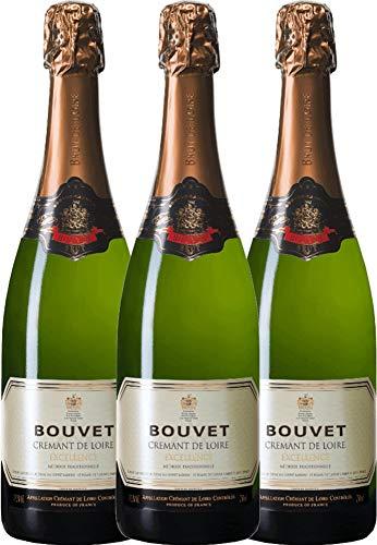 VINELLO 3er Weinpaket Schaumwein - Crémant Brut Blanc Excellence - Bouvet Ladubay mit Weinausgießer | prickelnder Crémant | französischer Schaumwein aus Val de Loire | 3 x 0,75 Liter