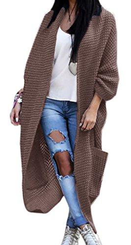 Mikos Damen Strickjacke Pullover Pulli Jacke Oversize Boho S M L XL (629) (Einheitsgrösse, Braun)