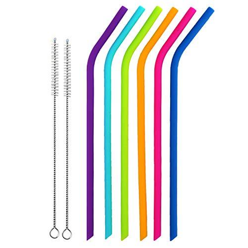 MISURE REGOLARI Bere riutilizzabili in silicone Set di 6 per adulti e bambini - 2 spazzole di pulizia incluse da BasicForm