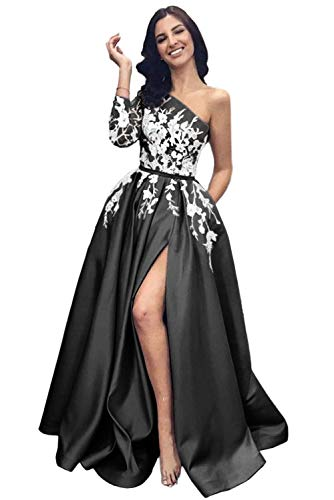 Lily Wedding Womens Halter 2 Piece Prom Dresses 2019 Long Sleeveless Satin Evening Formal Gown with Slit Black Size 2