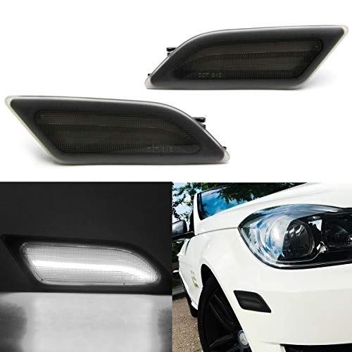 Cool White Led Side Marker Lights for 12-14 Mercedes Benz W204 LCI C-Class C250 C300 Front Fender Marker Lamps Smoked Lens OEM Side Marker Replacement