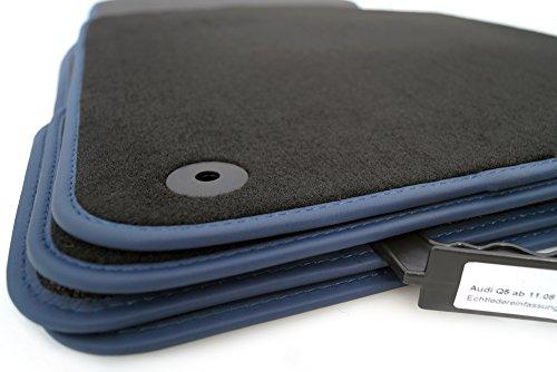 Tapis de sol Audi Q5sq5Premium Velours avec bordure en cuir (Bleu)