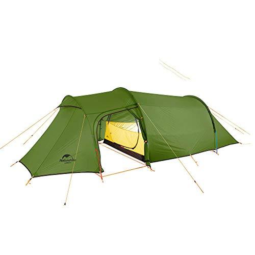 Naturehike(ネイチャーハイク) 2人用 OPALUS 2トンネルテント 2ルームハウス 4シーズン 超軽量バックパックテント アウトドアスポーツキャンプ用 グランドシート付 (2人用、緑、15D)