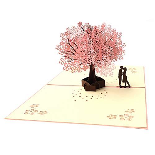 3d Pop-up Wenskaart, Handgemaakte Romantiek Kaart Verjaardag Valentijnsdag Geschenkkaart Met Envelop Voor Darling, Vriend, Vriendin, Paar, Gefeliciteerd (Sakura, Minnaar)