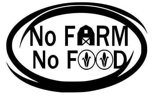 No Farm No Food, ovaler Vinyl-Aufkleber für Auto, LKW, Lieferwagen, Fenster, 15 x 7,9 cm, Schwarz