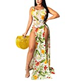 Pareo de Bikini para Mujer Cover Up para Playa Estampado Floral Vestido Largo Estilo Bohemio Vestido Transparente Abierta Lateral para Verano (Amarillo, XL)