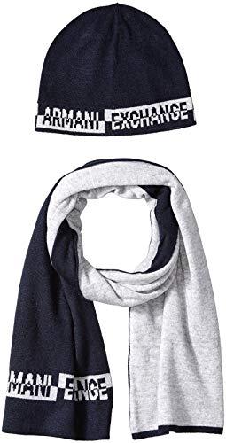 Armani Exchange Herren Knitwear Mütze, Schal & Handschuh-Set, Blau (Navy 1510), One Size (Herstellergröße: TU) (2er Pack)