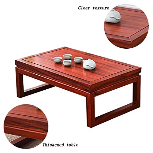 Tafel- Small Computer Table Tatami Living Room Low Coffee Table Balkon Creative kleine salontafel Nieuwe Chinese Rode Bloem Pear Solid Wood Low Table (kleur: rood, Maat: 80 * 50 * 30 cm)