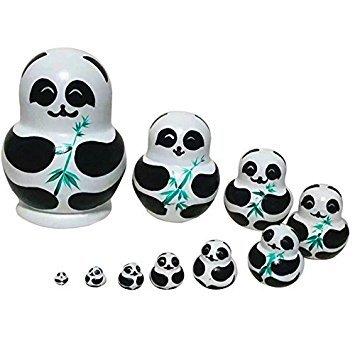 zeuxs 5x Russische Holz Puppen Nistkasten Handarbeit Matroschka Tier Puppe, Holz, panda with bamboo, 8*8*15