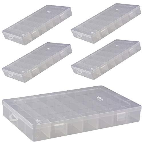 JBS basics ] Sortierbox Sortimentsbox [ 28 Fächer 35x22x5cm Groß ] Aufbewahrung [ 1er 2er 5er 10er Sets Kunststoff einstellbar ] Schrauben Perlen Sortierkiste Sortimentskiste (5, 28 Fächer)