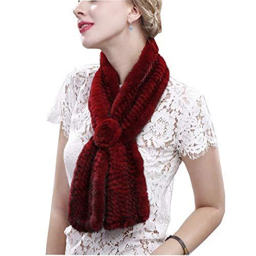 EVFIT Vestido de invierno con cuello de felpa suave para banquetes de boda de invierno visón bufanda de forro polar para tejer una flor bufanda cálida para mujer (color: rojo, tamaño: 100 x 12 cm)